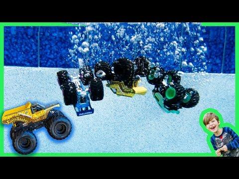Monster Trucks Hot Wheels Toys for Kids in the Swimming Pool!