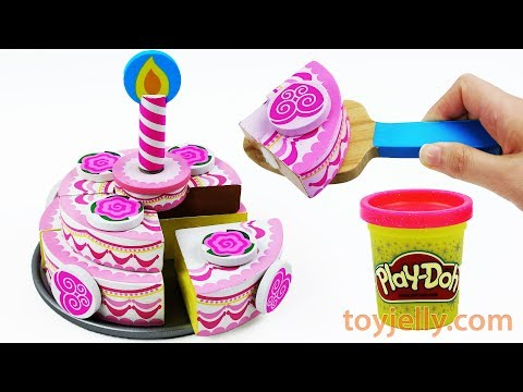 How to Make Play Doh Birthday Cake Velcro Cutting Baby Toys with Microwave Oven Playset For Kids
