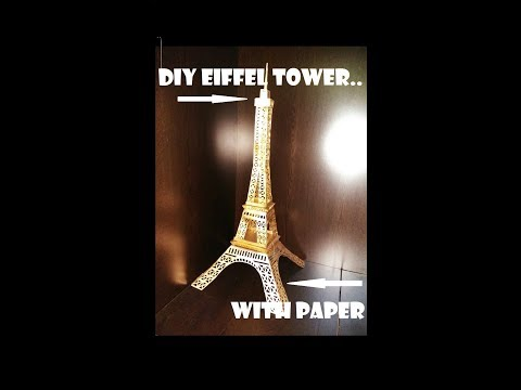 How to make Eiffel tower with paper sheet (diy golden 3d model)