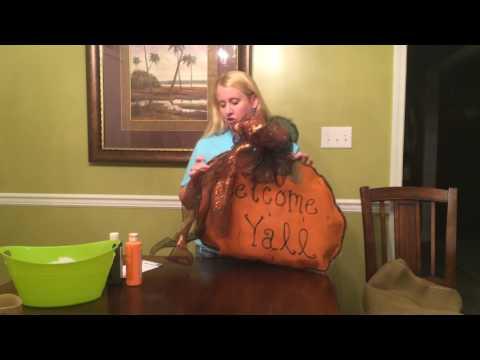 How to make a burlap pumpkin door hanger