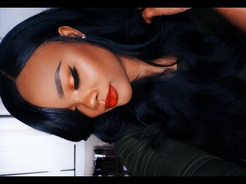 Sunset Metallic Eyes & Red Lips Makeup Tutorial