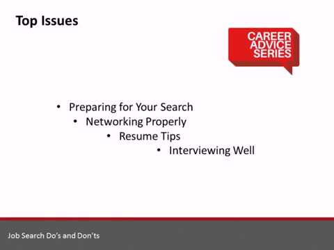 Career Advice Series: Job Search Dos and Donts