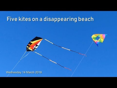 Five kites and a disappearing beach