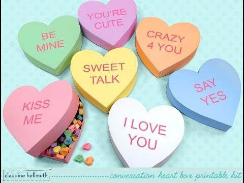 make a conversation heart candy and favor box valentine's printable kit
