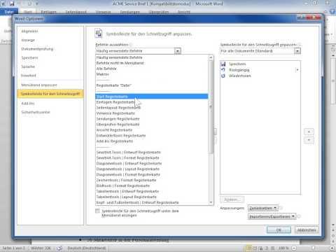 Microsoft Word 2010 Befehle zur Symbolleiste für den Schnellzugriff hinzufügen
