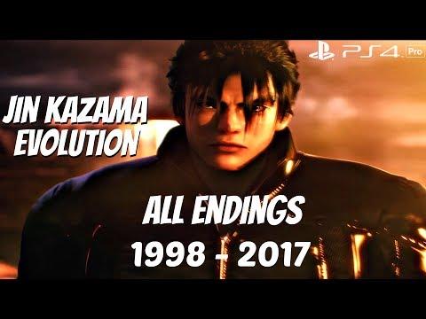 TEKKEN SERIES - All Jin Kazama & Devil Jin Endings 1998 - 2017 [1080P  60FPS] PS4 Pro