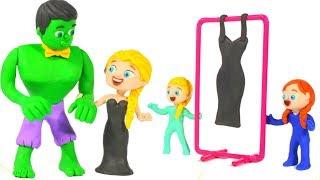 SUPERHERO & PRINCESS ELSA NEW DRESS ❤ SUPERHERO PLAY DOH CARTOONS FOR KIDS