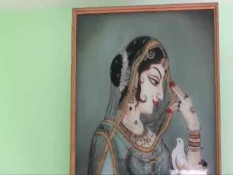 glass painting of a traditional lady