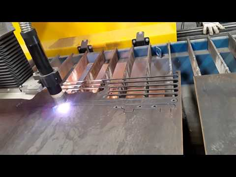 Plasma cutting & bending steel plate, thickness 6mm.