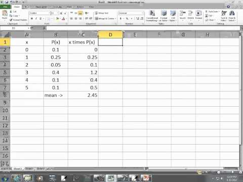 Excel 2010: Mean, Standard Deviation, and Variance of a Discrete Random Variable