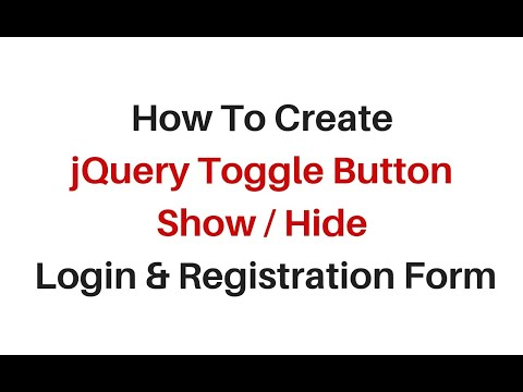 show and hide registration login form using toggle jquery 3.3.1