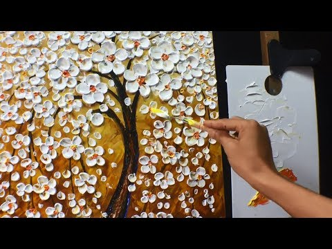Thick Paint White Flowers Acrylic Painting