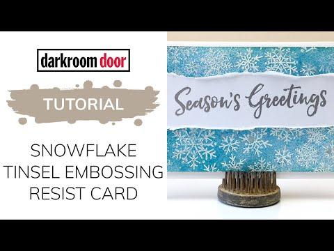 Christmas Card Tutorial with Tinsel Embossing Powders and Darkroom Door Season's Greetings Stamps