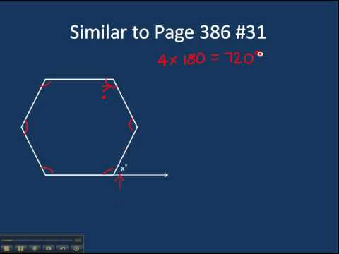 Page 386 #31 Finding the exterior angle of a regular hexagon