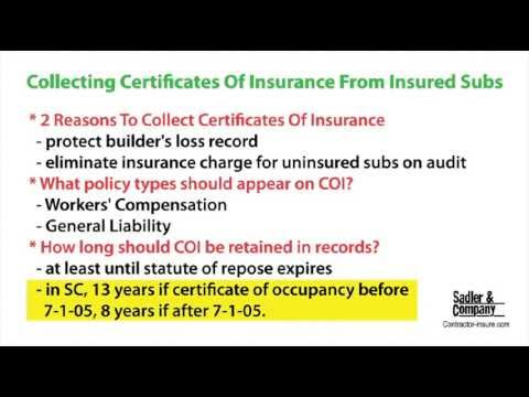 Collecting Certificates of Insurance from Insured Subcontractors