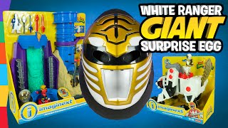 White Power Ranger Toys Giant Surprise Egg with Imaginext Power Rangers Command Center HQ by ToyRap