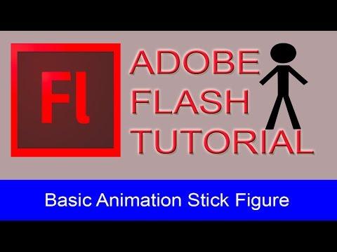 Adobe Flash Basic Tutorial -  Running / Walking STICK FIGURE
