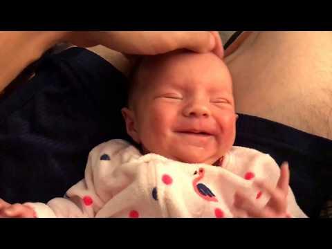 Tiny baby loves head massage
