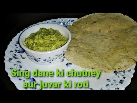 Sing dane ki chutney aur jovar ki roti | peanut chutney with jovar roti | homemade recipe