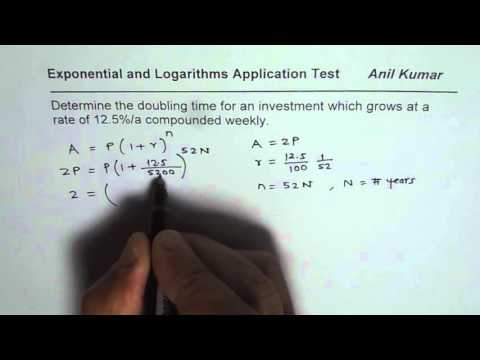Find Doubling Time of Weekly Compounded Exponential Growth Application