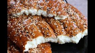 خبز ايراني نان بربري  خبز بدون زيت ولا زبدة بالسمسم مع رباح محمد ( الحلقة 393 )