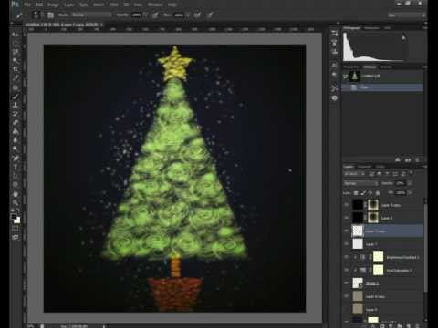 How To Create A Christmas Tree with Photoshop Brushes