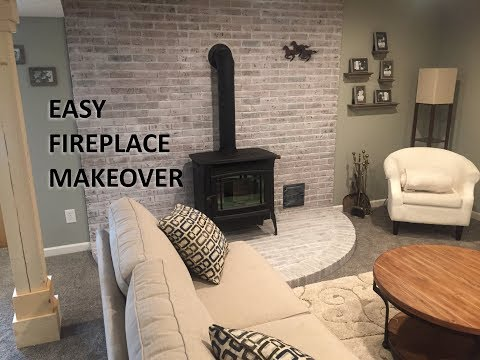 Fireplace Makeover: DIY Whitewash Your Fireplace Brick