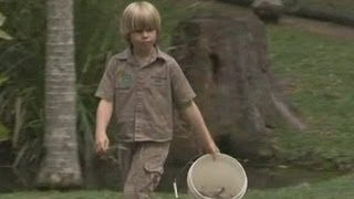 Steve Irwin S Son Robert Feeds A Saltwater Crocodile At The Family Zo