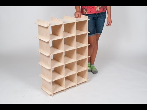 15 cubby Baltic Birch Shoe Organizer Assembly