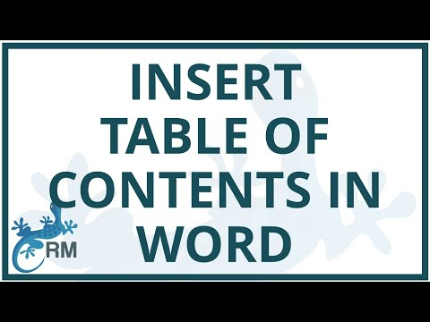 Word: how to insert the table of contents in Word