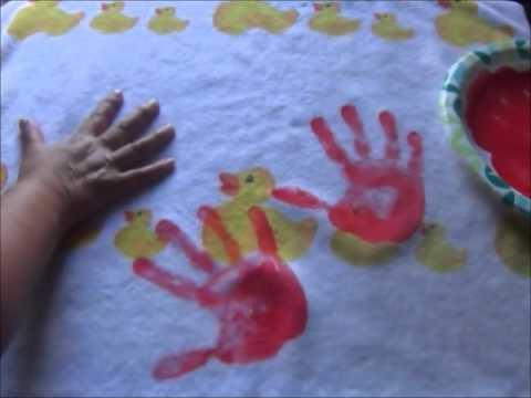 Halloween DIY: Bloody Handprints on Bath Towels!