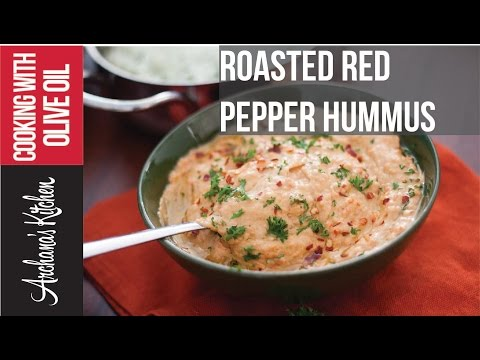 Roasted Red Pepper Hummus - Roz Ka Khana With Figaro Olive Oil
