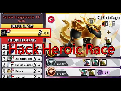 Hack  Heroic Race (High Realm Dragon) l Hack Item in Heroic Race l Dragon city