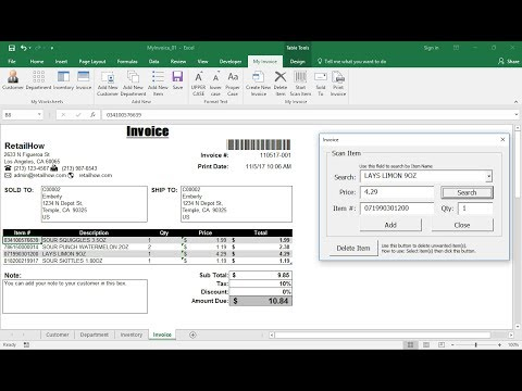 How to create Invoice in Excel with UserForm and using Barcode Scanner- FREE Download
