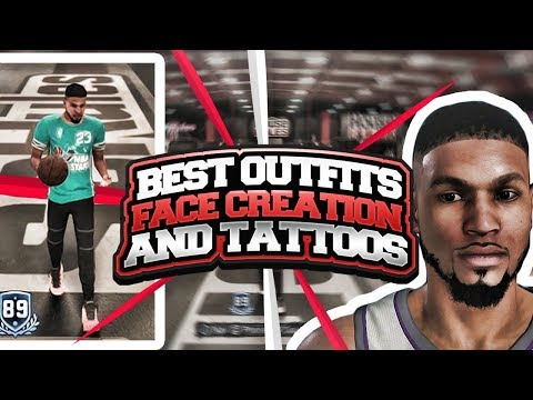BEST NBA 2K18 MyPARK OUTFITS! THE CLEANEST MyPLAYER FACE CREATION EVER #2! *BEST* ARM TATTOO SLEEVE!