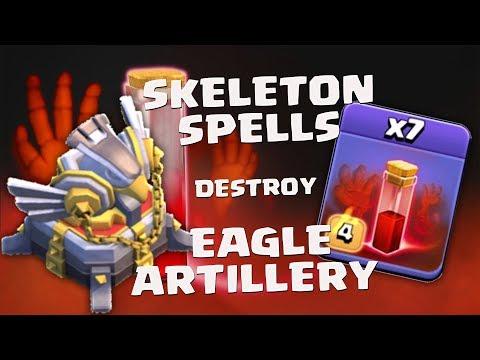 Skeleton Spells Destroy EAGLE ARTILLERY - Clash of Clans 2018