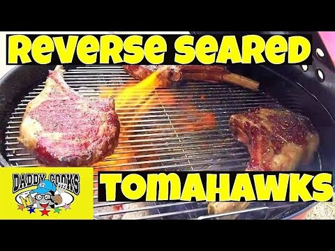 Reverse Seared Tomahawk Cowboy Steaks with the Slow n Sear using the Cold Grate Technique