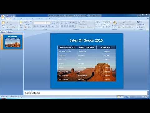 PowerPoint Training |How to insert a picture in the background of the table border in PowerPoint