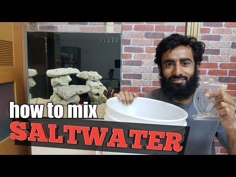 how to mix saltwater for aquarium in Hindi/Urdu