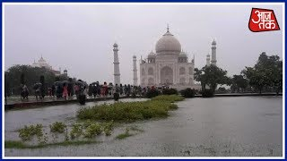 Taj Mahal भी आया भारी बारिश की चपेट में, Taj बना Swimming Pool !