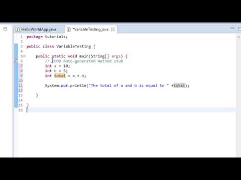 Java Tutorial 3: Intro to Variables