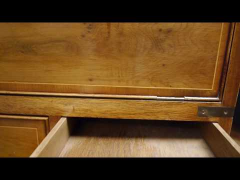 Yew Wood Reproduction Antique Military Campaign Style Writing Bureau Desk