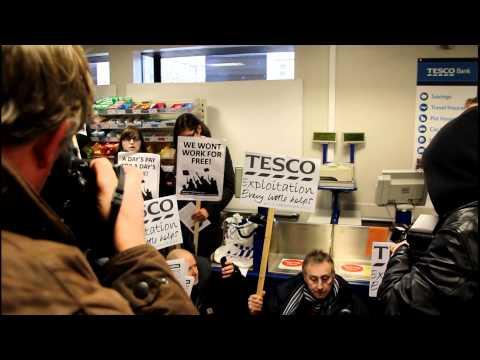 Right To Work protesters occupy Tesco's Westminster #workfare #boycotworkfare
