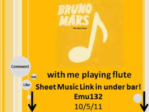 Bruno Mars - The Lazy Song ♥ with me playing flute :) w/ sheet music