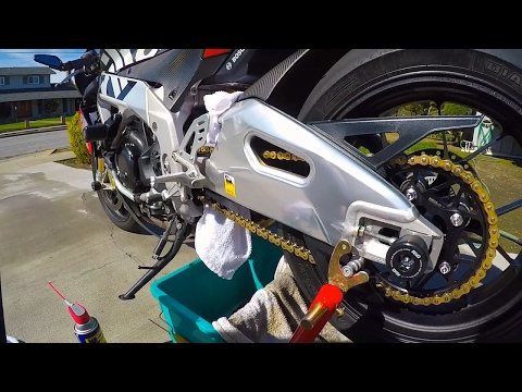 How to clean and lube your motorcycle chain and 520 chain mod - Aprilia Tuono Factory 1100