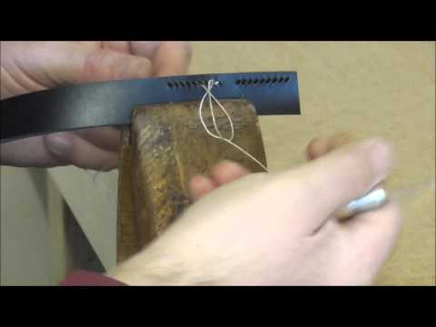 Leather hand stitching with a single needle