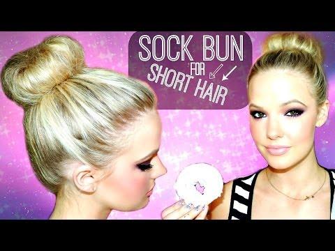 SOCK BUN FOR SHORT TO MEDIUM HAIR | Tutorial