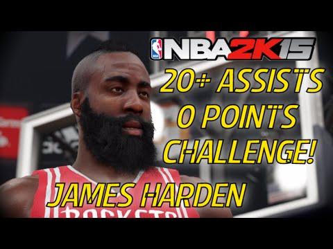 James Harden  20+ Assist 0 Point Challenge! NBA 2k15