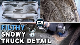 Deep Cleaning a FILTHY Snowy Truck | Satisfying Interior and Exterior Car Detailing!