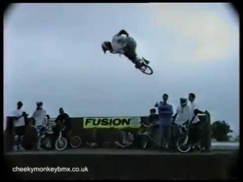 Carlo Griggs riding Vert at his BMX Ramp Jam, 1991